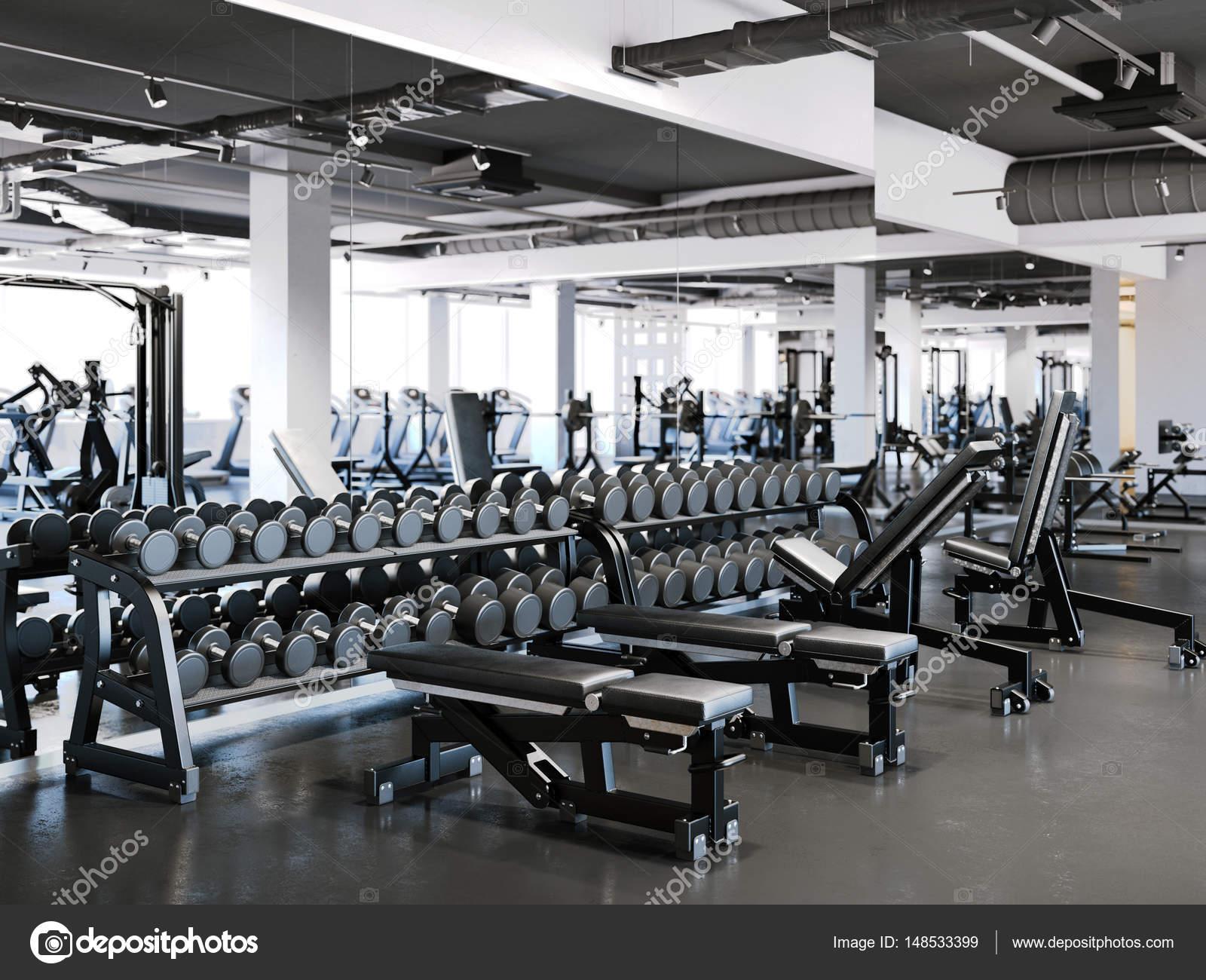 salle de sport moderne avec jeu d halt res rendu 3d photographie ekostsov 148533399. Black Bedroom Furniture Sets. Home Design Ideas