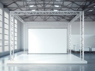 Empty stage with metal framework and blank billboard. 3d rendering