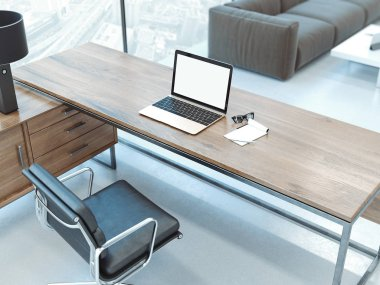 Office interior with wooden table and blank computer monitor. 3d rendering stock vector