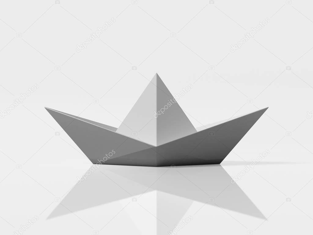 White paper ship. 3d rendering