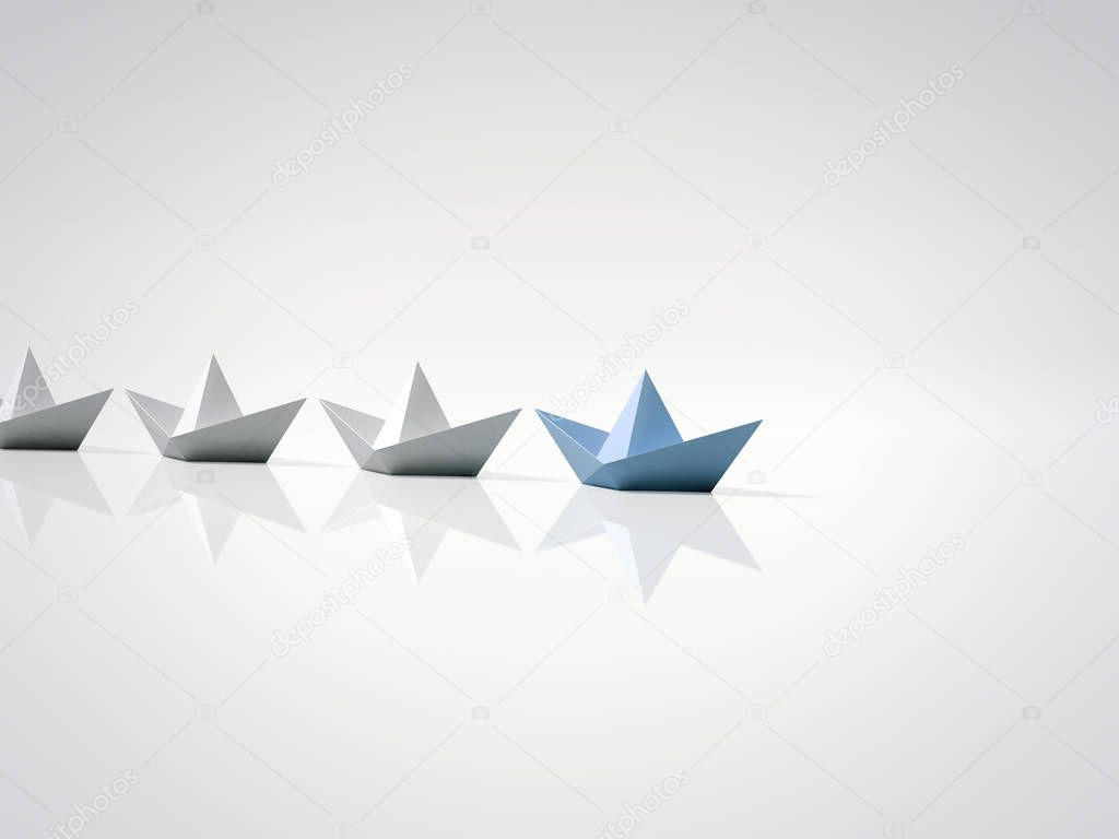 Blue paper ship leading. 3d rendering
