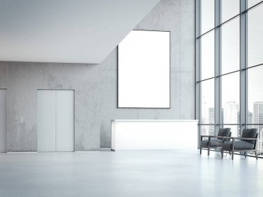 Modern office hall with blank banner on wall. 3d rendering