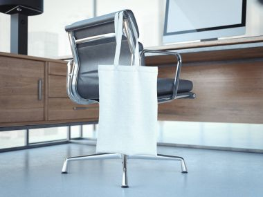 Blank white bag hanging on office chair. 3d rendering