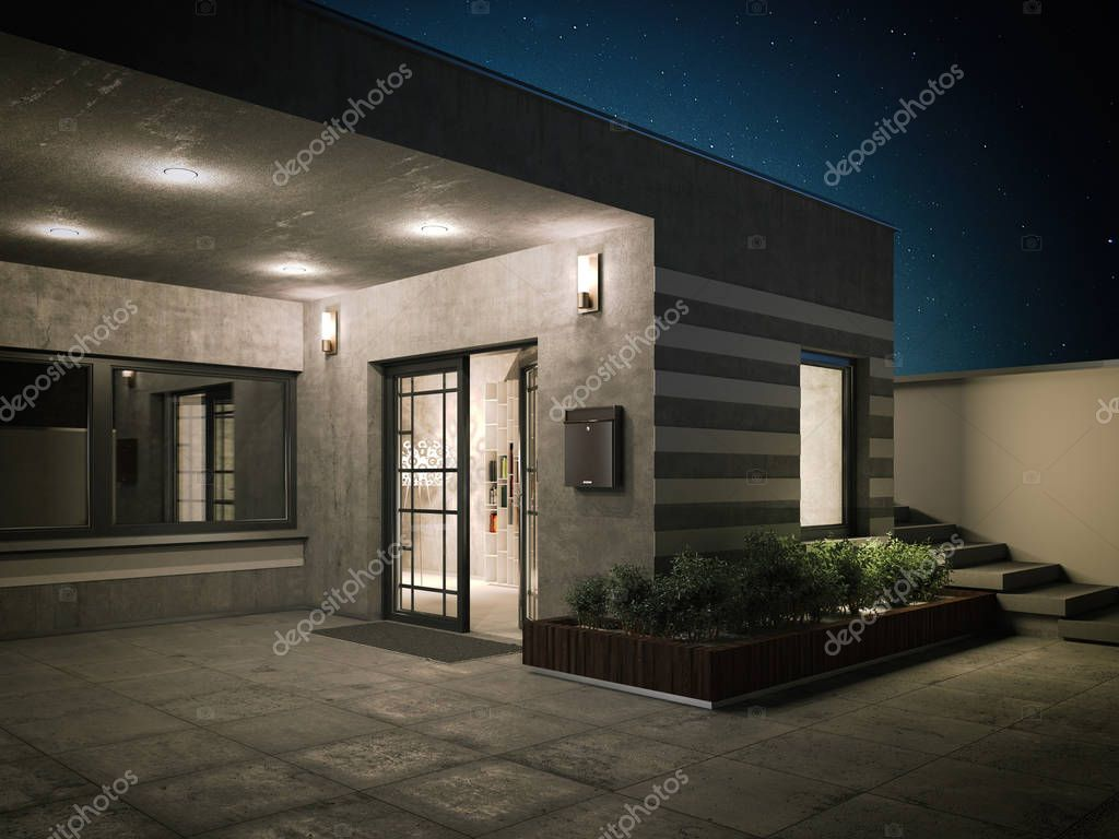Entrance to a country house. 3d rendering