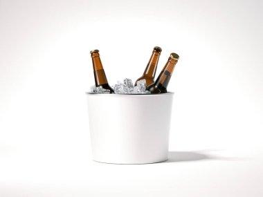 Blank ice bucket with beer bottles. 3d rendering