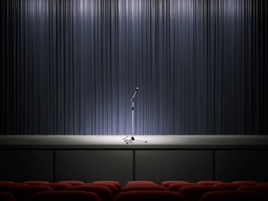 Microphone on a modern stage. 3d rendering