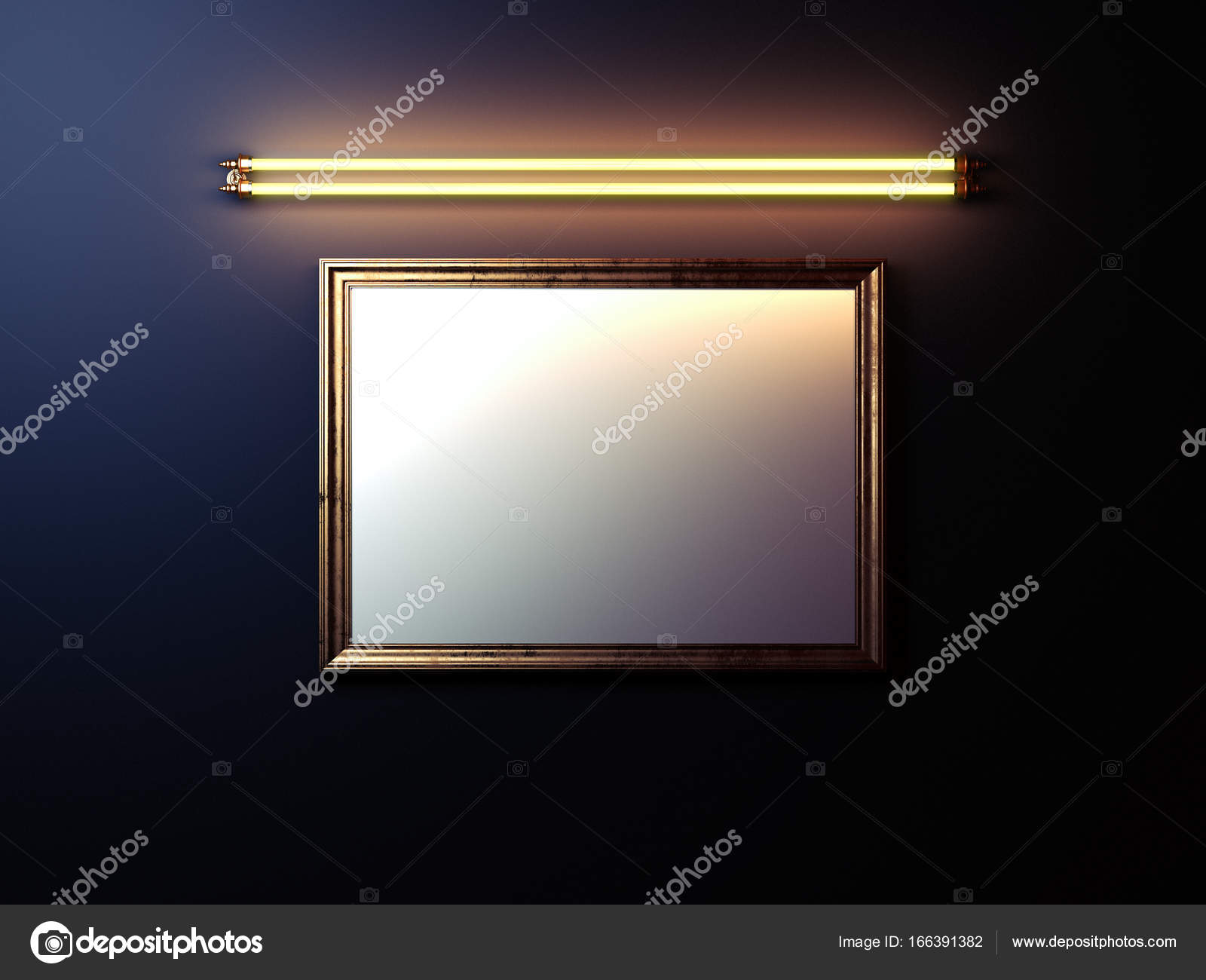 Leere Bilderrahmen mit leuchtenden Lampe an der Wand. 3D-Rendering ...