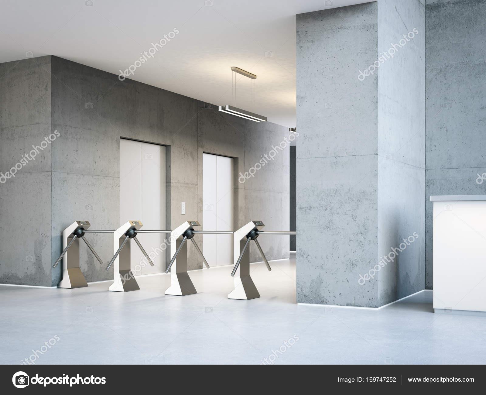 Tourniquets bij de ingang een moderne kantoorgebouw. 3d rendering