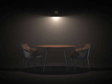 Two chairs and table. 3d rendering
