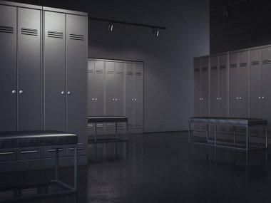 Stylish black locker room. 3d rendering