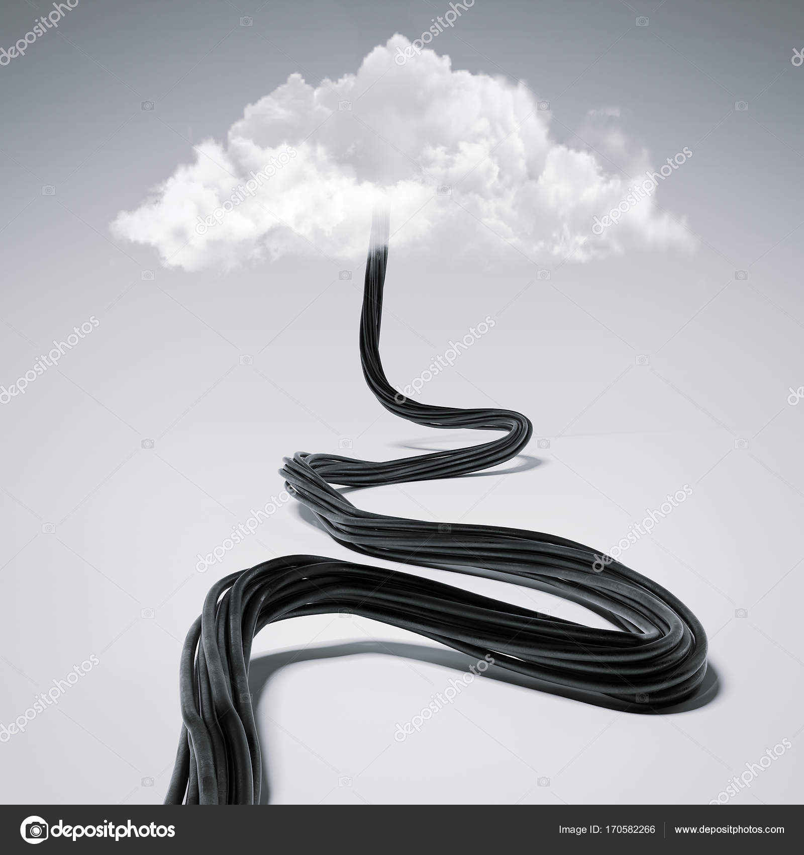 Black wire tends to the clouds. 3d rendering — Stock Photo ...