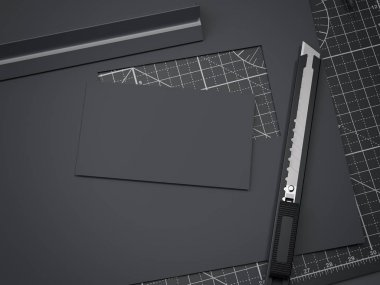 Office cutting board and black business card from paper. 3d rendering