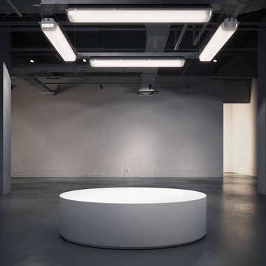 Round showcase in a gallery interior. 3d rendering