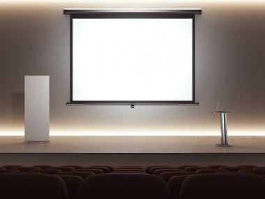 Dark lecture room with digital rostrum and big screen. 3d rendering