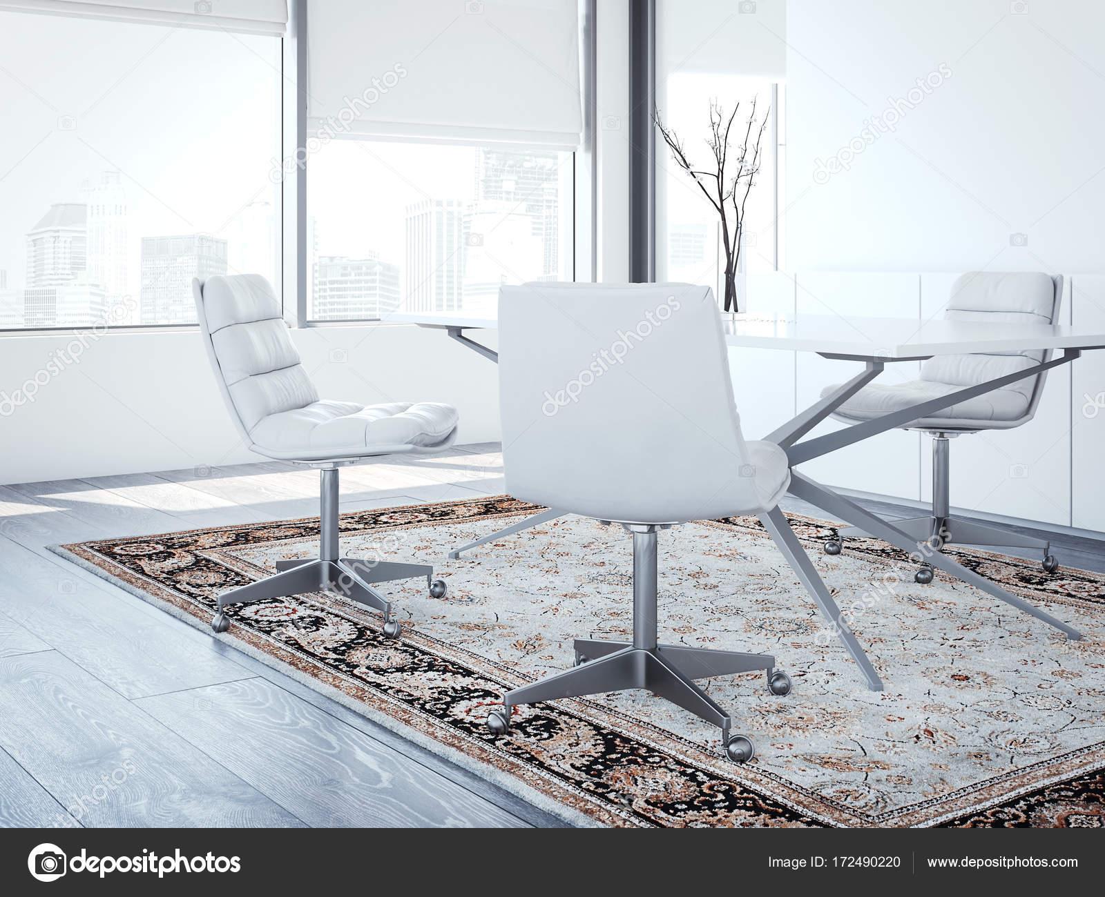Moderni capi ufficio con sedie bianche rendering d u foto stock