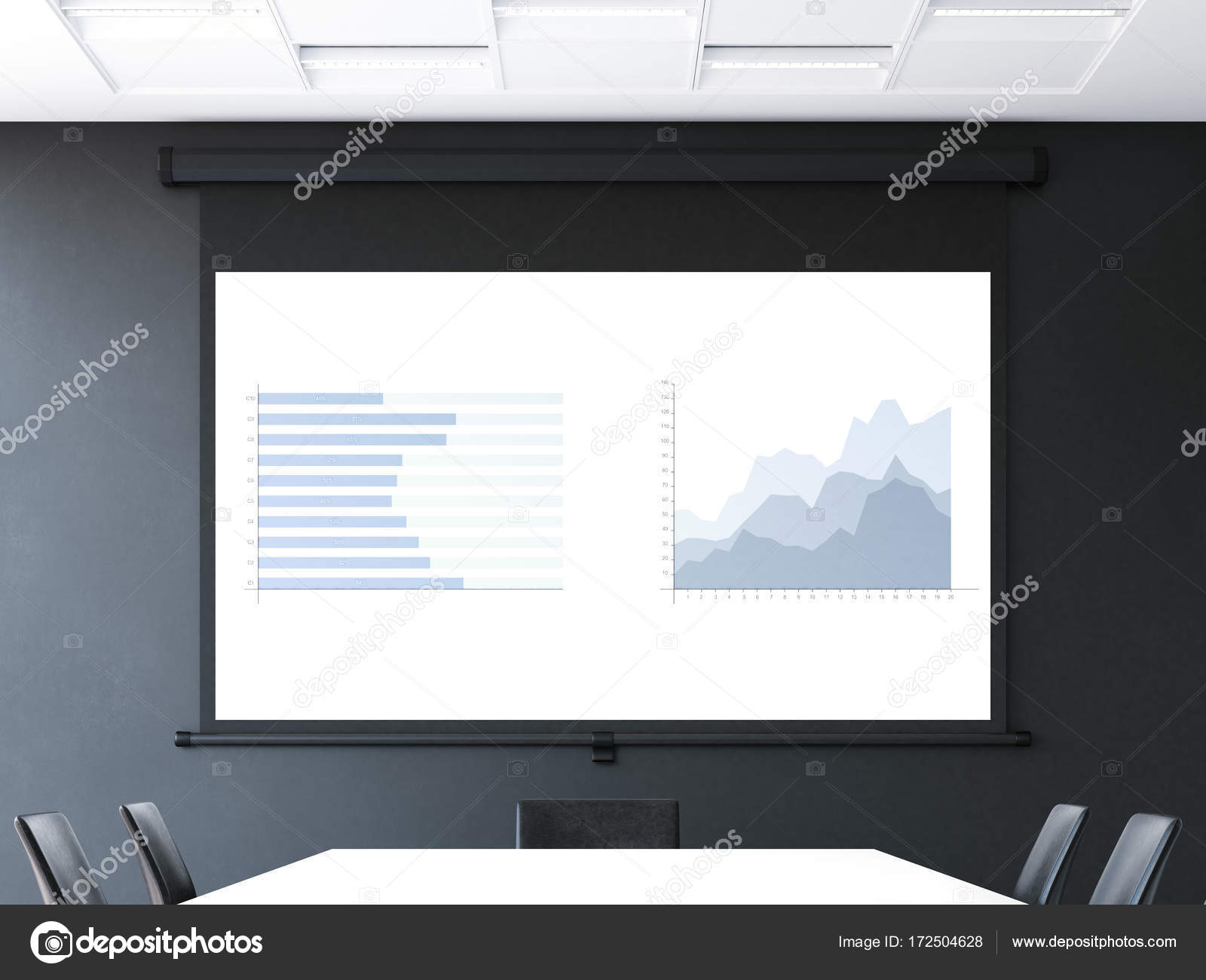 Meeting room with roll up projector screen. 20d rendering Stock ...