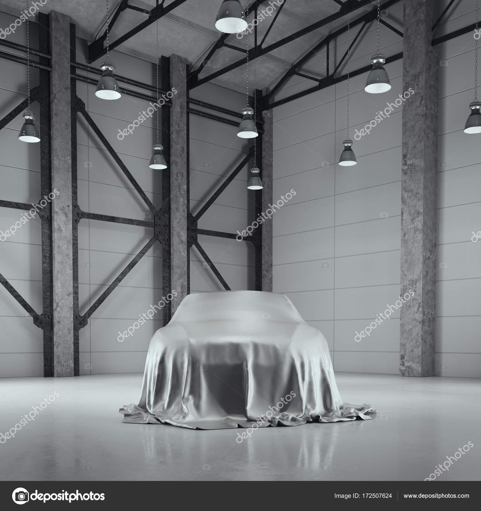 Loft Hangar modern factory loft hangar with photo studio. 3d rendering — stock