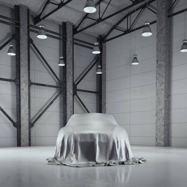 Modern factory loft hangar with photo studio. 3d rendering