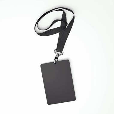 Blank black badge with tape. 3d rendering