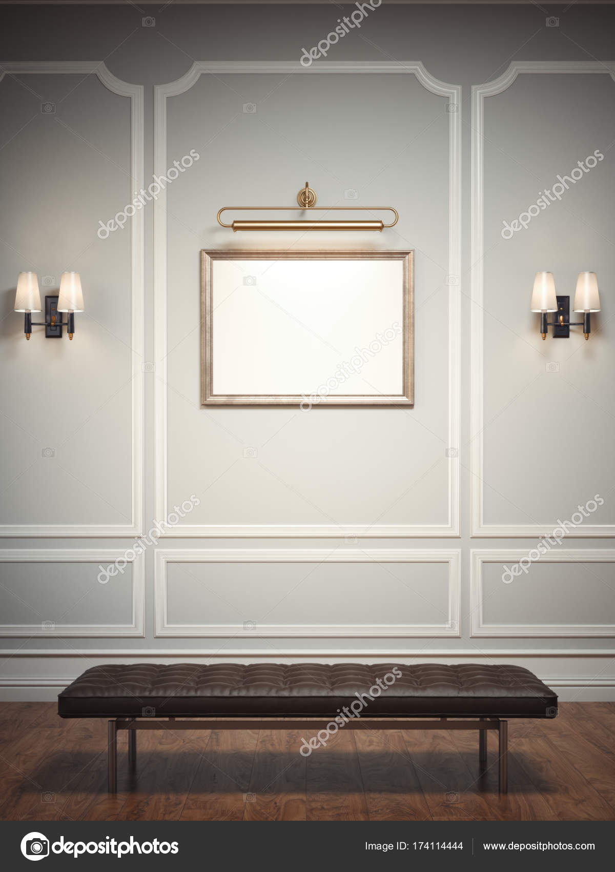 Interior clásico con un asiento de cuero y marco del cuadro. Render ...