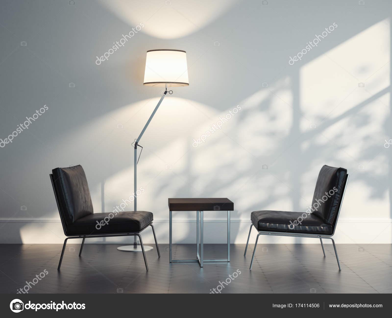 Lederen Fauteuils Modern.Twee Lederen Fauteuils In Een Modern Interieur 3d Rendering