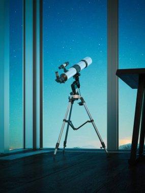 Telescope aimed at the night sky. 3d rendering