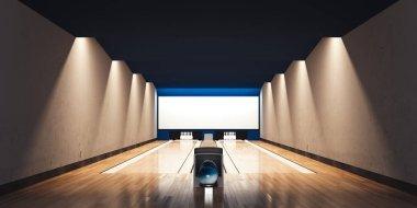 Modern bowling interior. 3d rendering