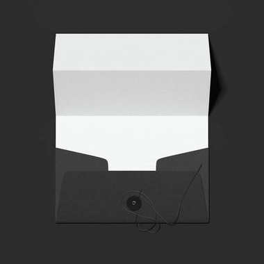 Stylish black envelope and folded white sheet of paper. 3d rendering