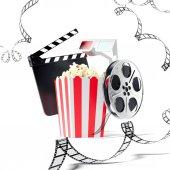 Pattogatott kukorica, taps film és film tekercs. 3D-leképezés