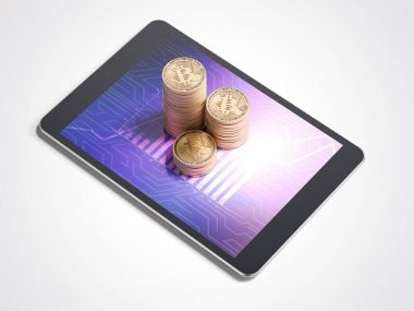 Three stacks of bitcoins and tablet pc. 3d rendering