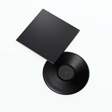 Music plate with blank black package. 3d rendering