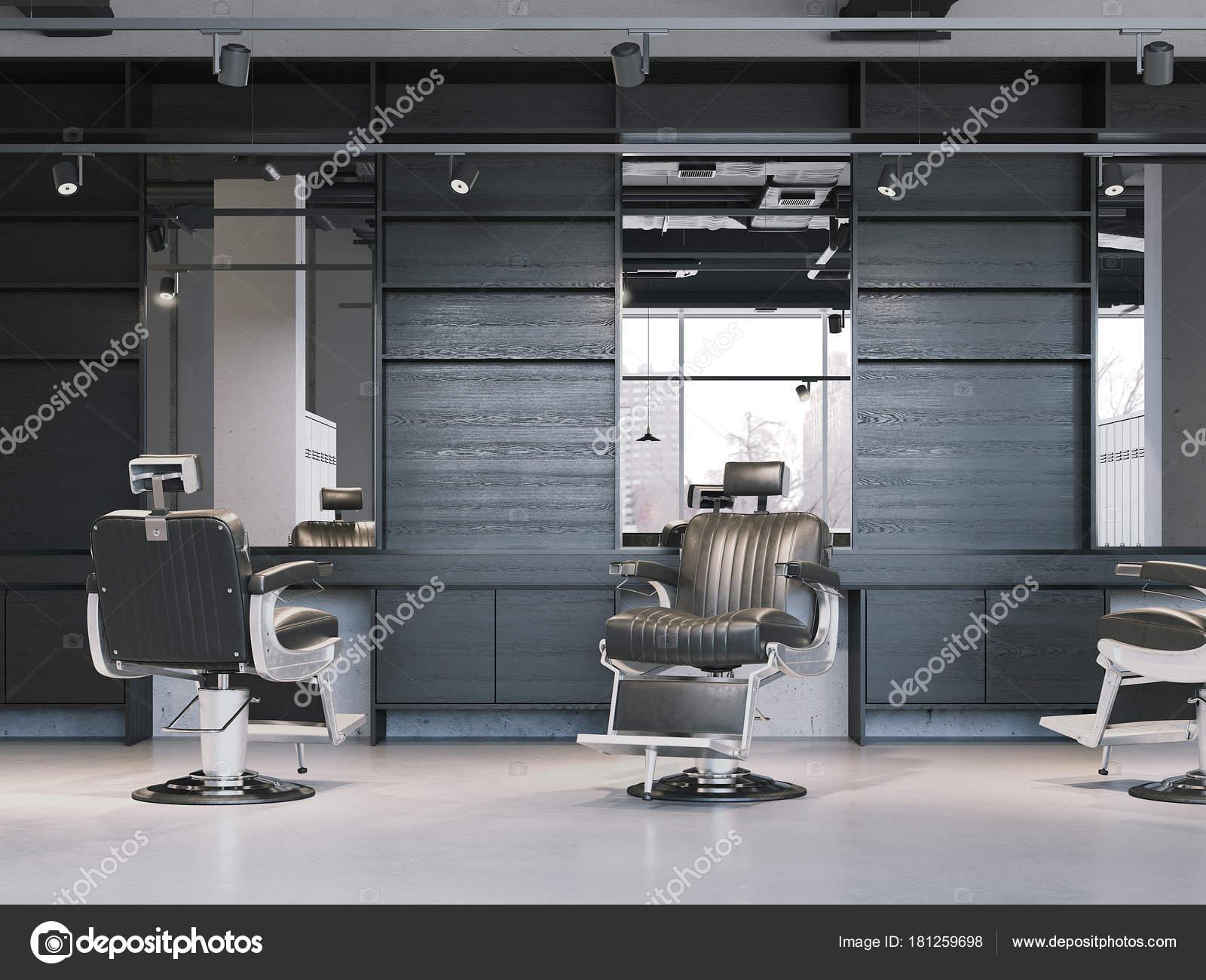 Décoration Salon De Coiffure Moderne Avec Des Chaises Noires. Rendu 3D U2014  Image De ...
