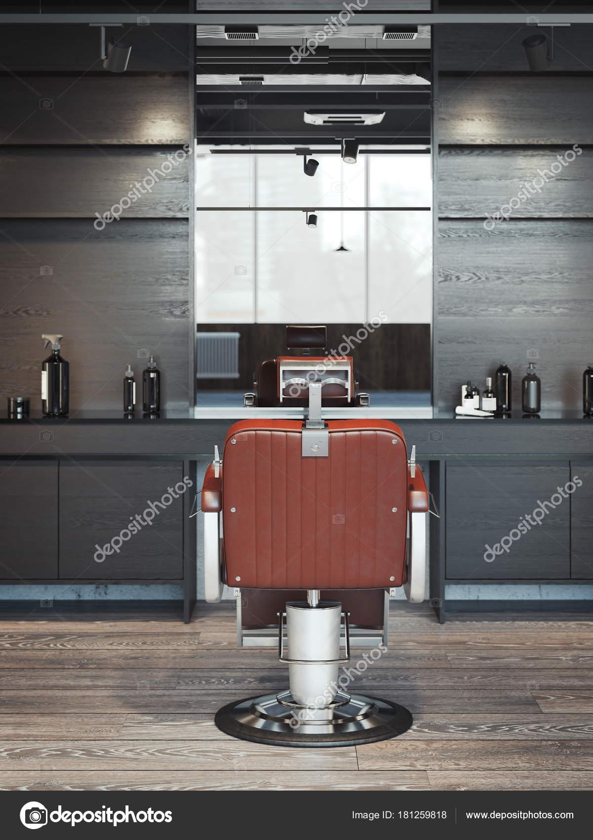 Intérieur de salon de coiffure moderne avec chaise rouge. rendu 3D ...