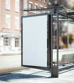 Photo Bus stop with blank ad banner. 3d rendering