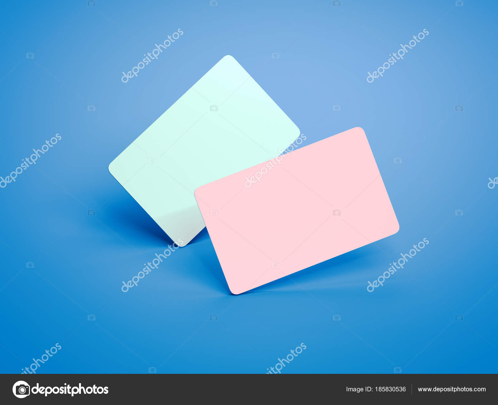 Two colored business cards with round corners. 3d rendering — Stock ...