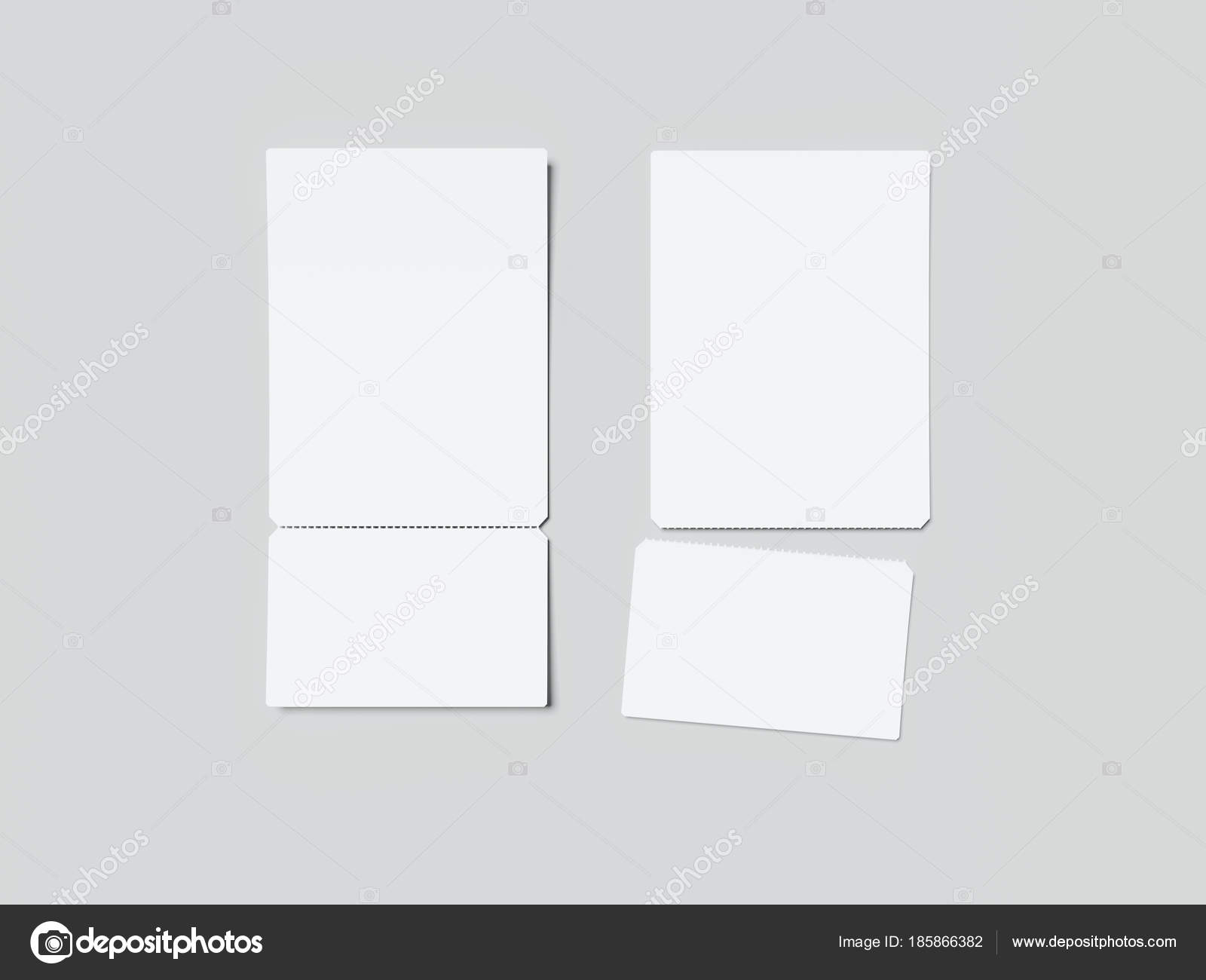 two white tear off tickets 3d rendering stock photo ekostsov