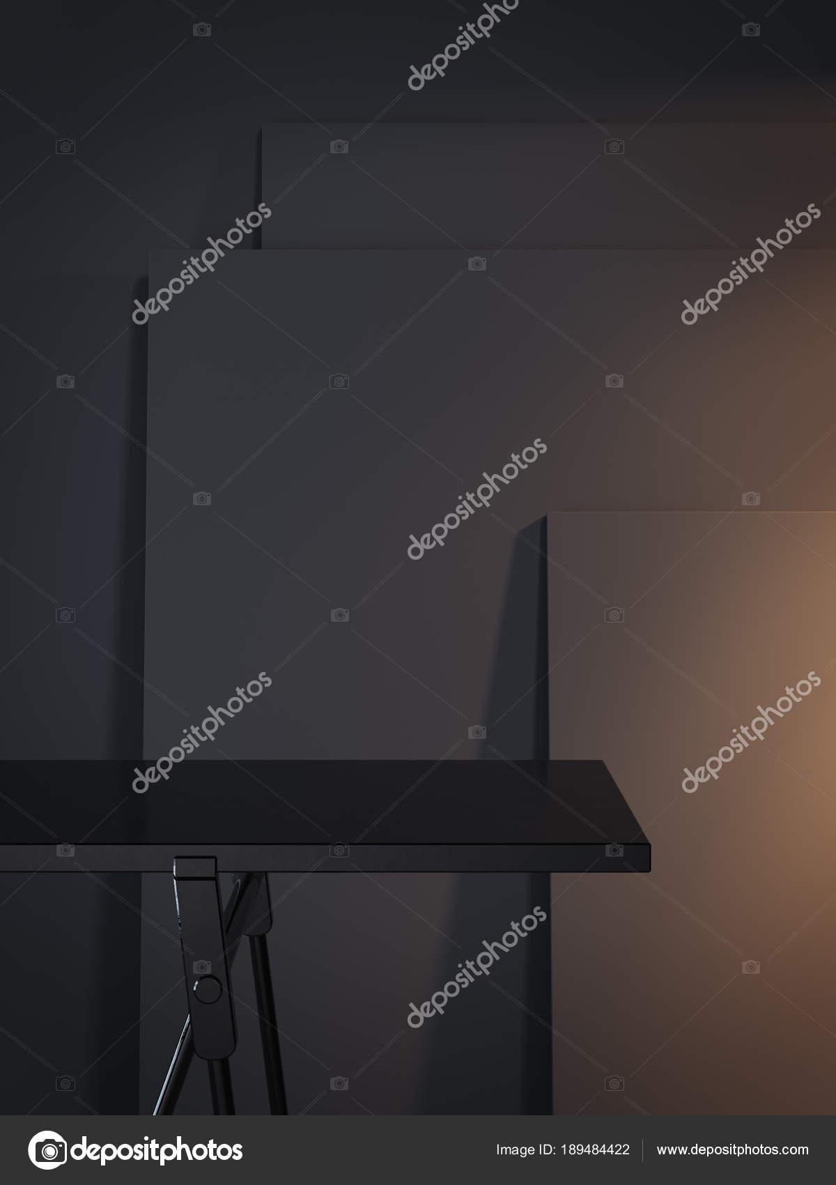 Schwarze leere Tabelle und drei dunkle Bilderrahmen. 3D-Rendering ...