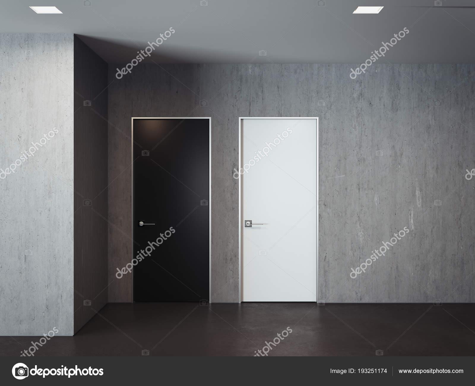 Muri Interni Grigi : Moderna sala luminosa con porte di muri grigi bianco e nero