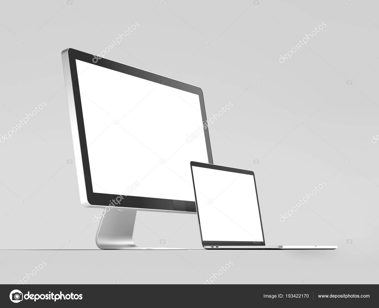 Realista negro enmarcado monitor blanco y negro portátil, render 3d ...