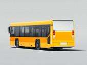 Moderní žlutý realistický autobus izolovaný na šedém pozadí. zpětný pohled. 3D vykreslování.