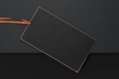 Blank black rectangle price Tag. Discount Offer Price Label. 3d rendering.