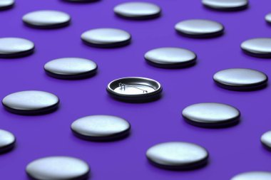 Black Blank Pin Buttons With Empty Space Isolated On Violet Background, 3d rendering.