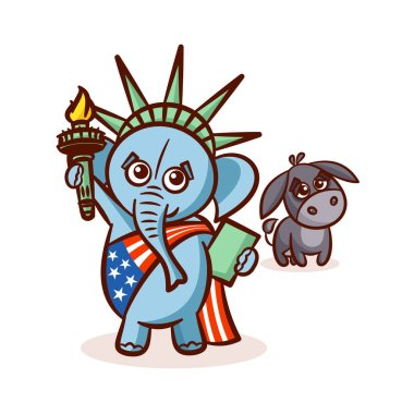 Elephant and Donkey. Symbols of Democrats and Republicans. Political parties in United States. Illustration for election, debate America. The Statue of Liberty. USA flag