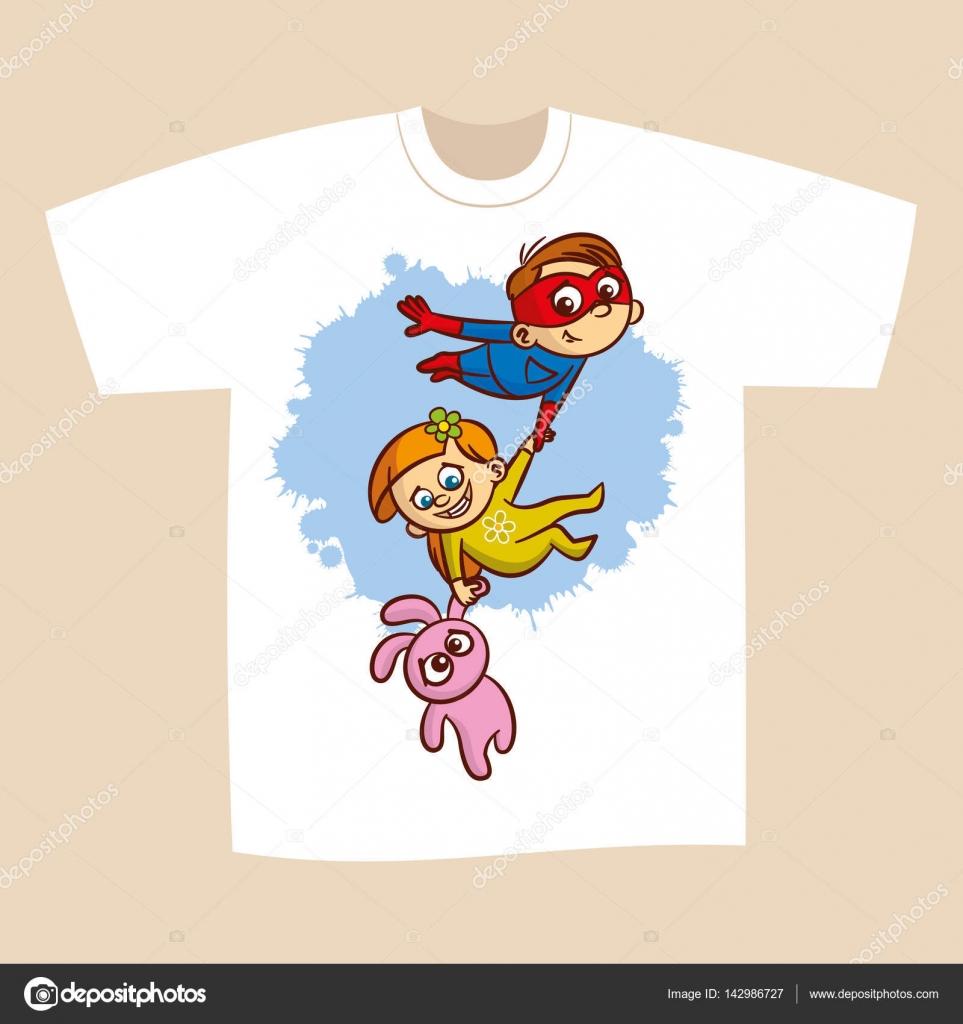 8a20537b T-shirt Print Design Superhero Flying Boy Rescuer Vector Illustration —  Vector by ...