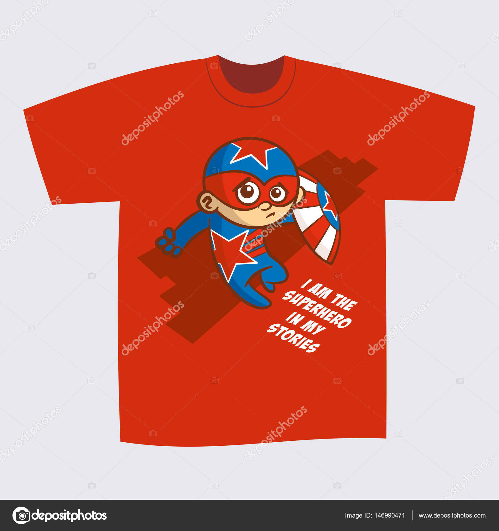 d39d9aed T-shirt Red Print Design Superhero — Stock Vector © ichbinsam #146990471