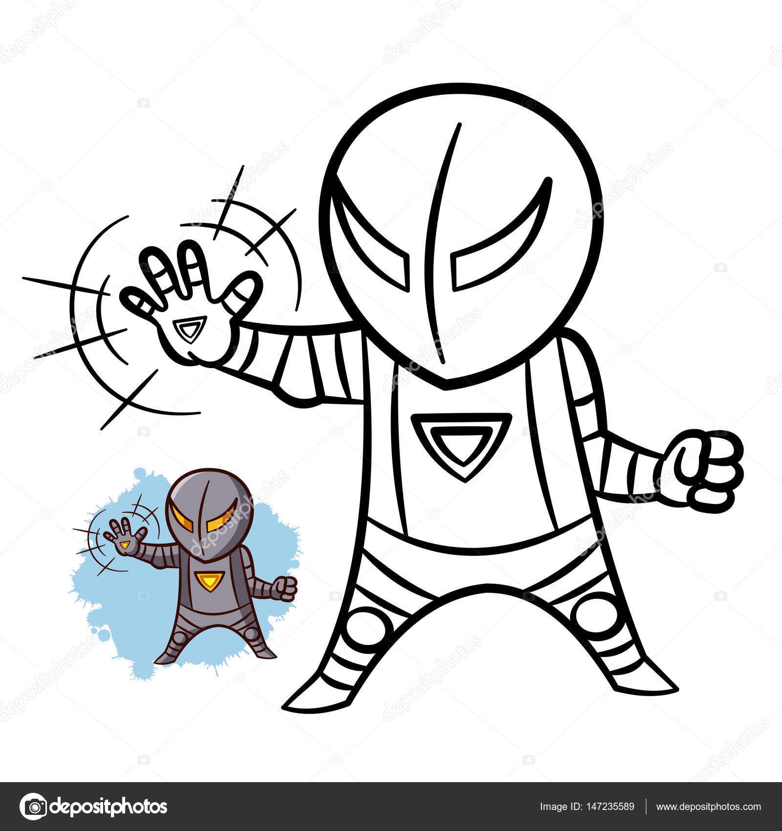 Superheld Boy Eisen Malbuch. Comic-Figur isoliert auf weißem ...
