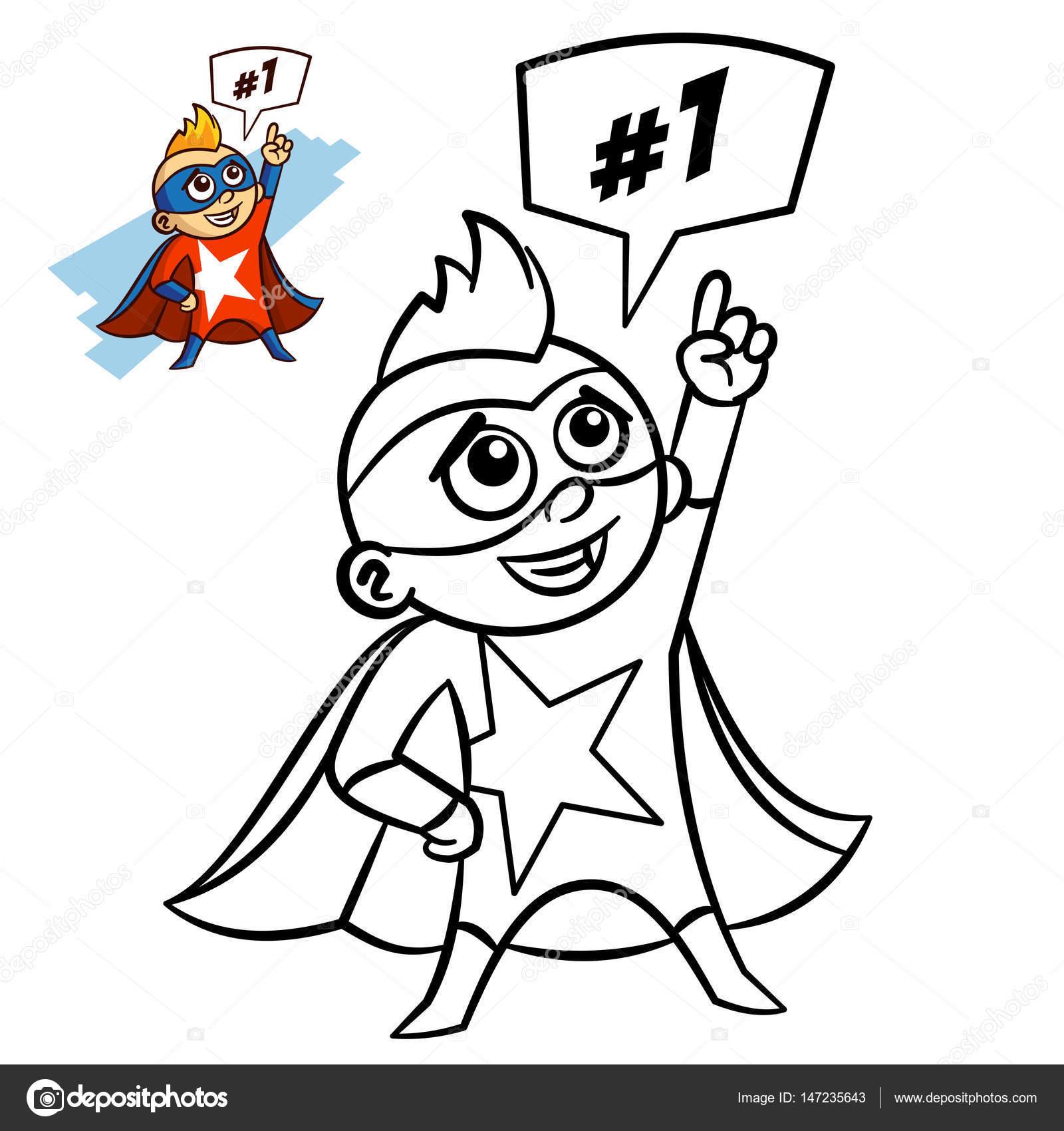 Superheld junge Malbuch. Comic-Figur isoliert auf weißem Hintergrund ...