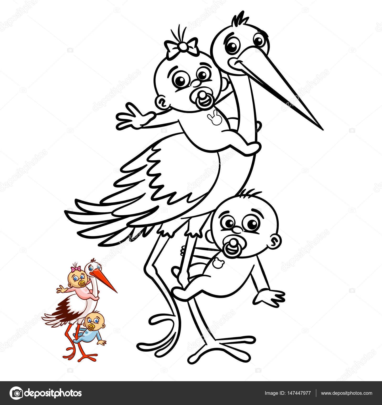 Dibujos Ciguenas Lindas Con Bebes Para Colorear Ciguena Con Los