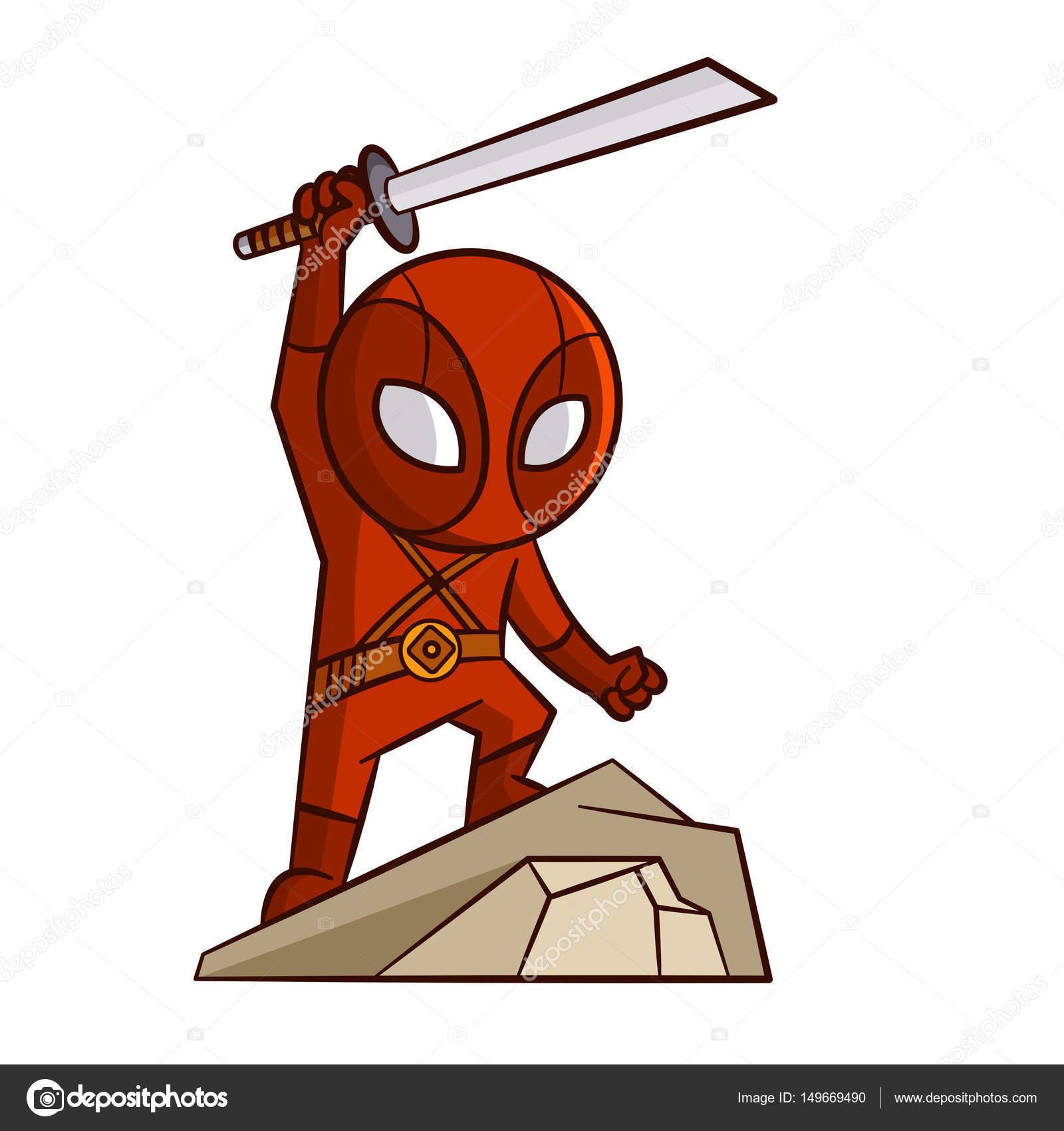 Superheld rot Ninja Aufkleber — Stockvektor © ichbinsam #149669490
