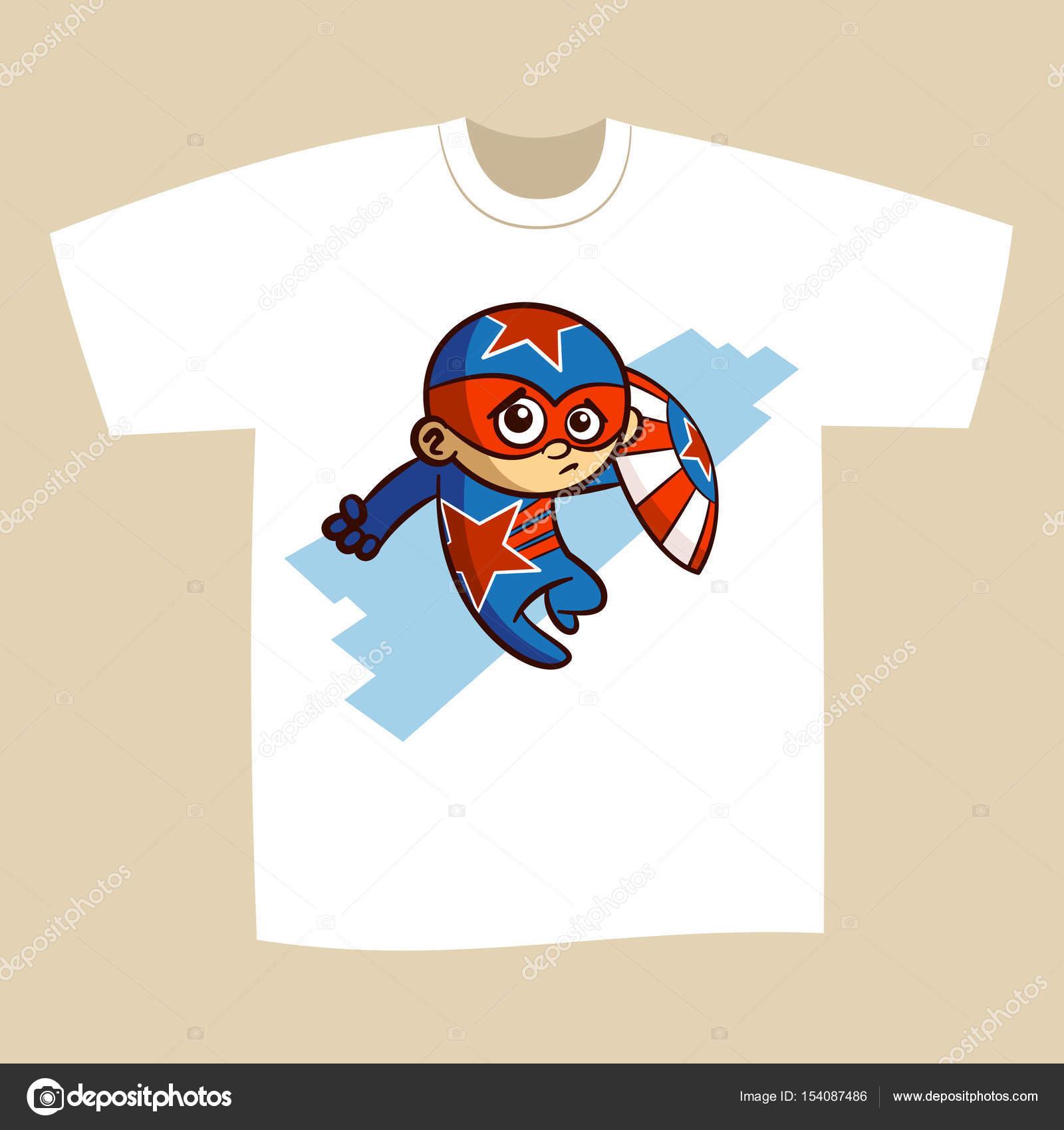 ef028773 T-shirt Print Design Cartoon Superhero Vector Illustration — Vector by ...